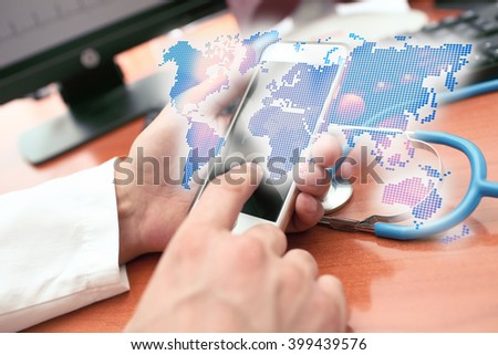 Holographic representation of the world map in the hands of the medical practitioner - stock photo