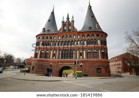 Holsten Gate in Lubeck old town, Schleswig-Holstein region, Germany - stock photo