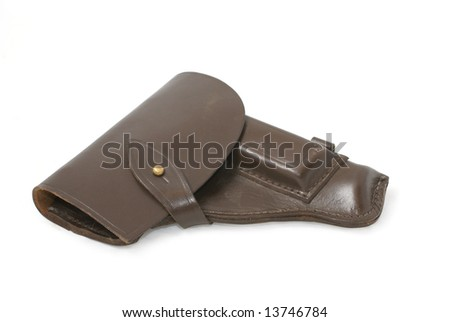 Holster to model of soviet army and police hand gun PM. Path on white background