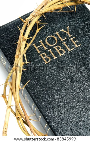 holy bible  and crown of thorns isolated on white background - stock photo