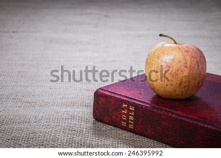 Holy Bible with apple - stock photo