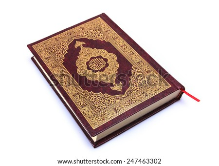 """Holy Book """"Qur'an"""" Isolated In White  - stock photo"""