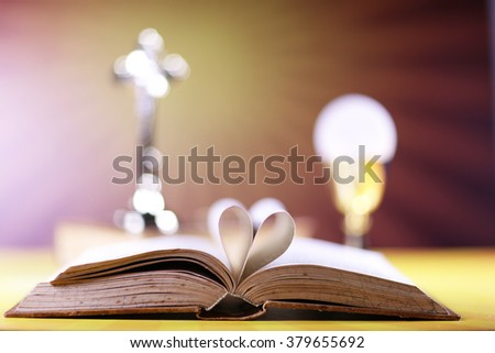 Holy communion, Bible and Cross - stock photo