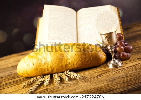 Holy Communion Bread, Wine  - stock photo