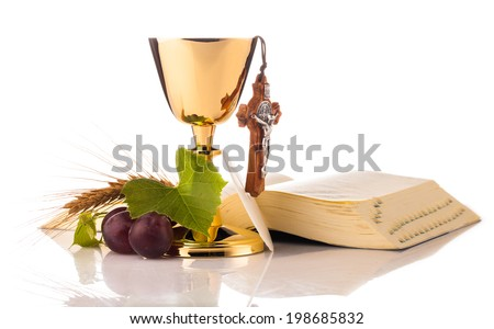 holy communion composition isolated on white - stock photo