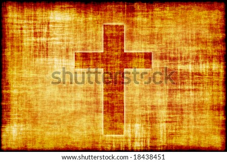 Holy Cross Engraved on a Parchment Scroll Paper - stock photo