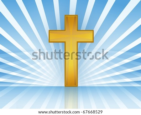 Holy Cross with rays of light. Vector file available. / Cross In Heaven - stock photo