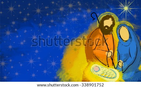Holy family Christmas nativity abstract vector watercolor illustration Mary Joseph and Jesus in the starry night with copy space for text - stock photo