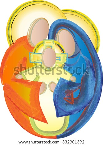Holy Family Jesus Mary and Joseph simple abstract nativity Christmas watercolor illustration - stock photo