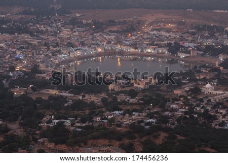 holy lake in Pushkar at night - India