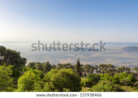 Holy Land view from Mount Tabor - stock photo