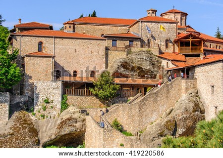 Holy Monastery of Grand Meteoran in Meteora mountains, Thessaly, Greece. UNESCO World Heritage - stock photo