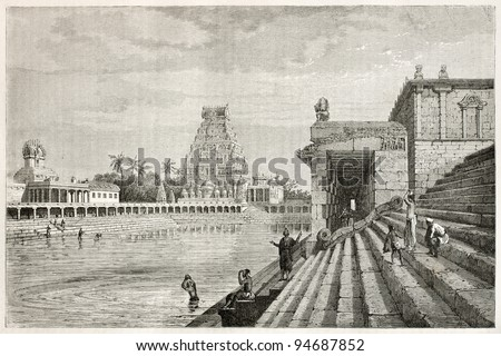 Holy pond in Chidambaran pagoda, India. Created by Clerget after Paris, published on Le Tour du Monde, Paris, 1867 - stock photo