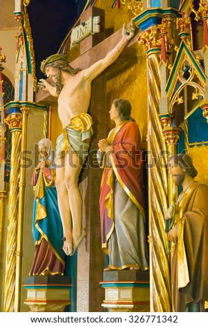 Holy rood at chancel in catholic church - stock photo