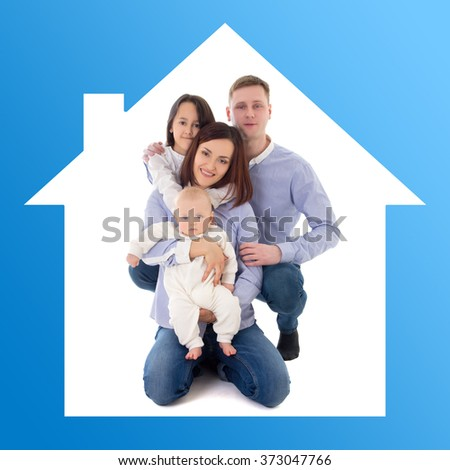 home and family concept - father, mother, daughter and son in blue house - stock photo
