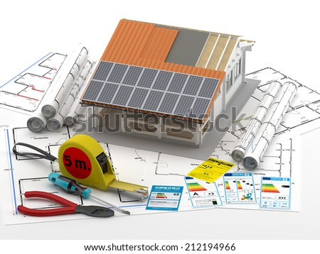 Home and Plans - Energy efficient construction - stock photo