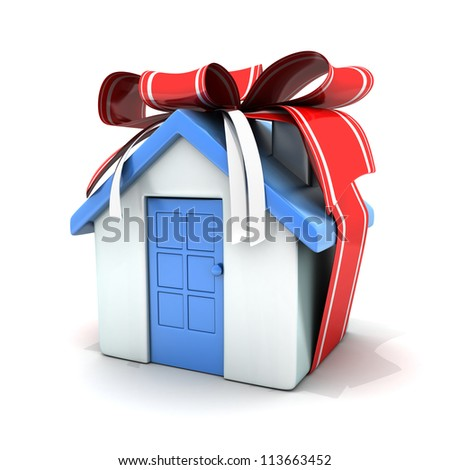 Home and red ribbon (done in 3d) - stock photo