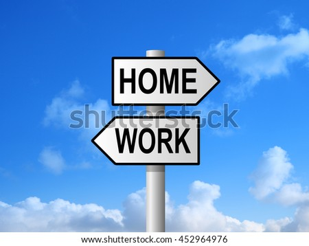 Home and work road sign post against blue sky - stock photo