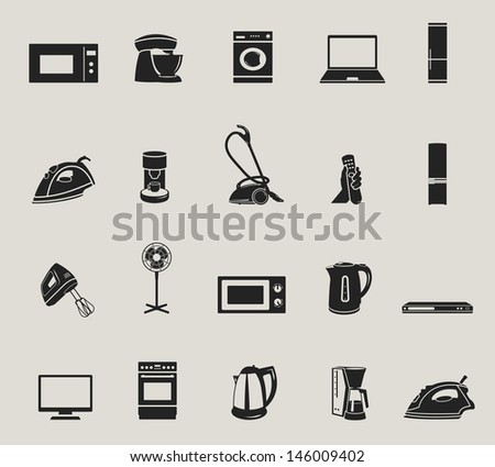 home appliances and electronics icons set. raster version, vector file also available in gallery - stock photo