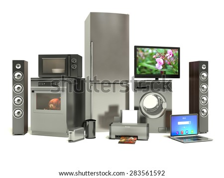 Home appliances. Gas cooker, tv cinema, refrigerator air conditioner microwave, laptop and washing machine - stock photo