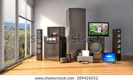 Home appliances. Gas cooker, tv cinema, refrigerator, microwave, laptop and washing machine. 3d illustration - stock photo