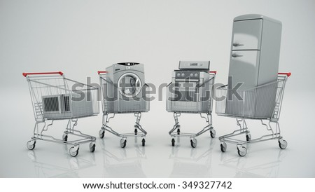 Home appliances in the shopping cart. E-commerce or online shopping concept.  - stock photo