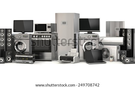 Home appliances.Seamless pattern. Cooker, tv cinema, refrigerator air conditioner microwave, laptop and washing machine. 3d - stock photo
