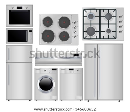 Home appliances. Set  household kitchen technologies, Microwave  electric Oven, Dishwasher, refrigerator, washing machine. Gas stove. Surface  stove.  Raster version. Illustration isolated on white. - stock photo
