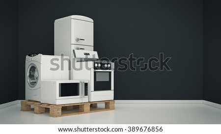 Home appliances. Set of household kitchen technics. Fridge, gas cooker, microwave oven and washing machine. 3d - stock photo