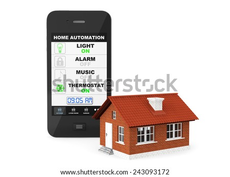 Home Automation Concept. Mobile Phone and house on a white background - stock photo