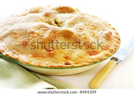 Home-baked apple pie, straight from the oven, in vintage enamel pie plate.  With bone-handled knife, ready for cutting. - stock photo