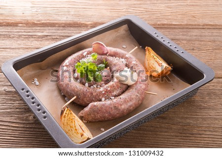 home-baked sausage - stock photo