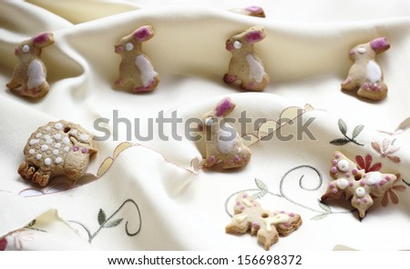 Home baked sweet cookies of different figures - stock photo