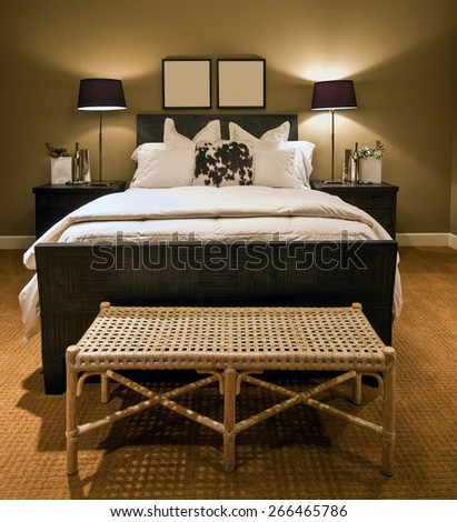 Home Bedroom: Master Bedroom in Luxury House, Close-up of Bed  - stock photo