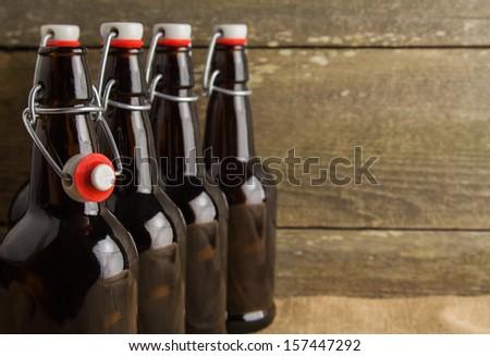 home brew easy cap beer bottles - stock photo