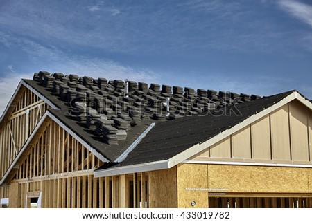 Home building industry double gable roof construction