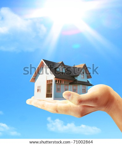 home business and hand - stock photo