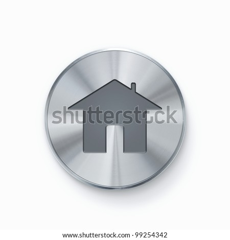 Home button, icon isolated on white background - stock photo