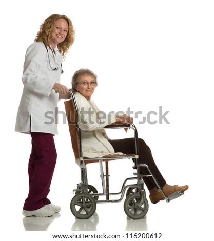 Home Care Nurse Push Senior on Wheelchair on Isolated White Background - stock photo