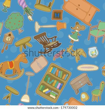 Home chaos - seamless pattern - raster version - stock photo