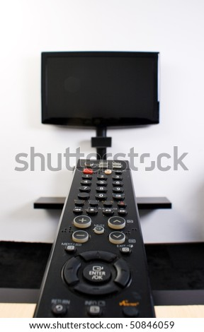 Home cinema system with flat screen tv - stock photo
