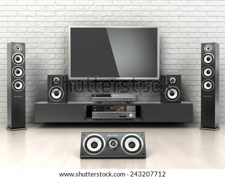 Home cinemar system. TV,  oudspeakers, player and receiver  in the room. 3d - stock photo