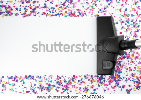 Home cleaning with vacuum cleaner and copy space for a text message - stock photo