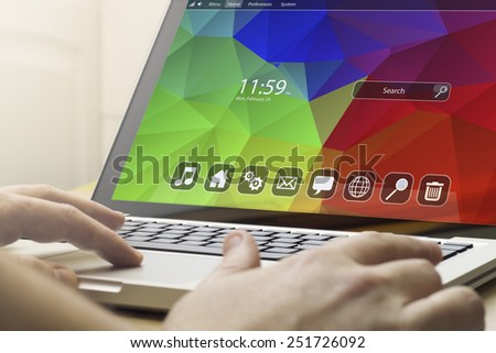 home computing concept: man using a laptop  - stock photo