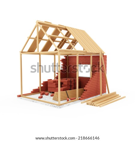 Home Construction Concept. House Under Construction isolated on white background - stock photo