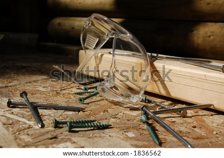 Home Construction Eyeguards and Build Materials - stock photo