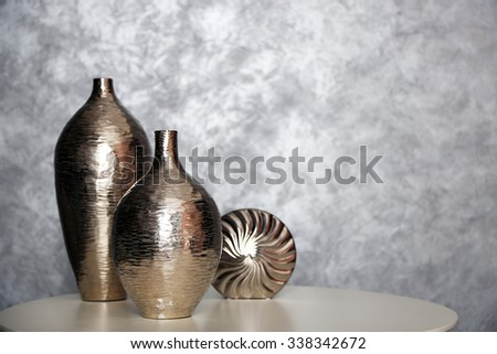 Home decor in a room on wall background - stock photo
