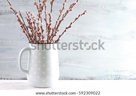 Home Decor Spring Blooming Willow Branches Stock Photo Royalty Free