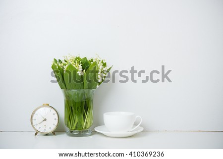 home decoration, lilies of the valley - stock photo