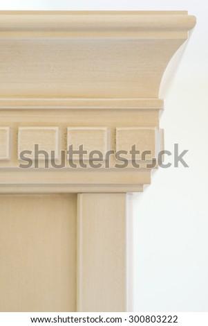 Home decorative furnishings- wooden closet detail - stock photo
